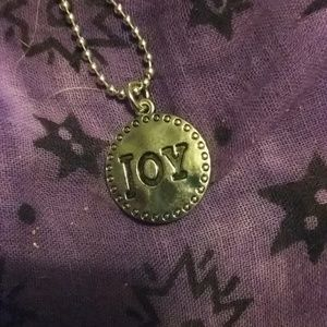 Pendant with JOY inscribed on 18 inch chain